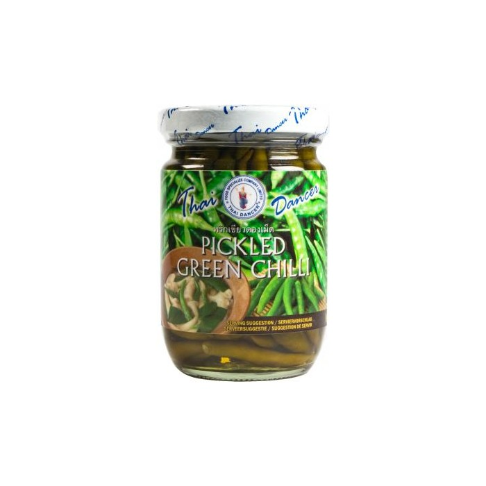 Pickled green chilli - grüne thai chili im Glas Thai Dancer 200g